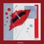 Tableau coquelicot stylisé rouge (4 décors)