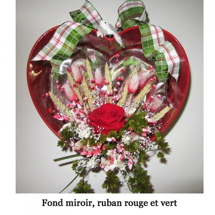 Coeur bl et fleurs suspendre fond miroir cadeaux pour for Fond miroir