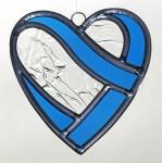 Coeur enlacé en  vitrail