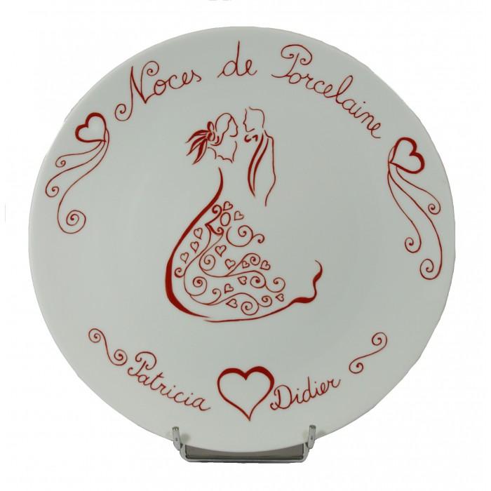 Assiette porcelaine Toi et Moi 4 couleurs