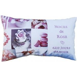 Coussin Jours d'amour Décor Rose personnalisable