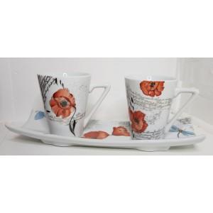 Café en duo, decor coquelicot