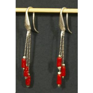 Boucles d'oreilles corail et argent