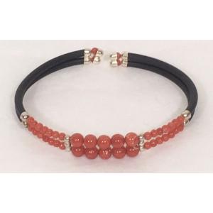 Bracelet 2 rangs corail et argent