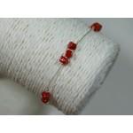 Bracelet perles de corail sur chaine argent