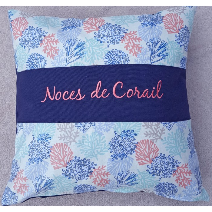 coussin noces de corail personnaliser cadeaux pour toi. Black Bedroom Furniture Sets. Home Design Ideas