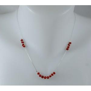Collier  perles de corail sur chaine argent