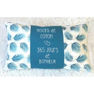 Coussin Noces de coton à personnaliser bleu blanc