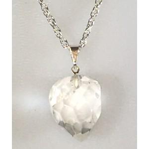 Pendentif Ovale facetté cristal de roche