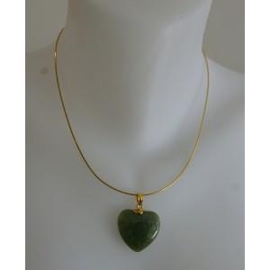 Pendentif coeur jade sur chaîne argent doré or fin