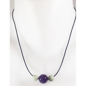 Collier perles de jade et améthiste
