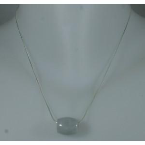 Pendentif perle tonnelet 1.7 cm et chaîne argent