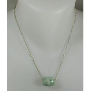 Pendentif perle tonnelet 1.8 cm et chaîne argent