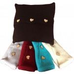 Coussin  laine (5 couleurs) avec boutons cœurs