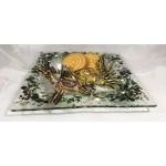 Assiette carrée, décor houx