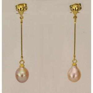 Boucles d'oreilles goutte argent et perle d'eau douce