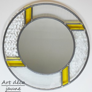 Miroir rond vitrail