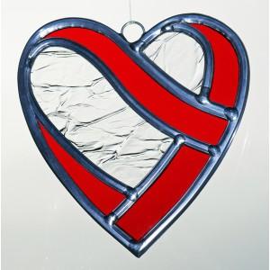 Coeur enlacé en  vitrail (3 couleurs)