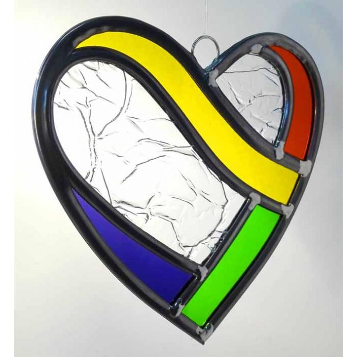 Coeur Arc-en-ciel en vitrail   Cadeaux pour toi et moi