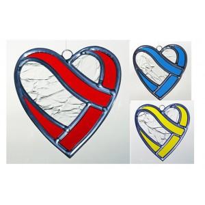 Coeur enlacé en  vitrail (rouge, bleu, jaune)